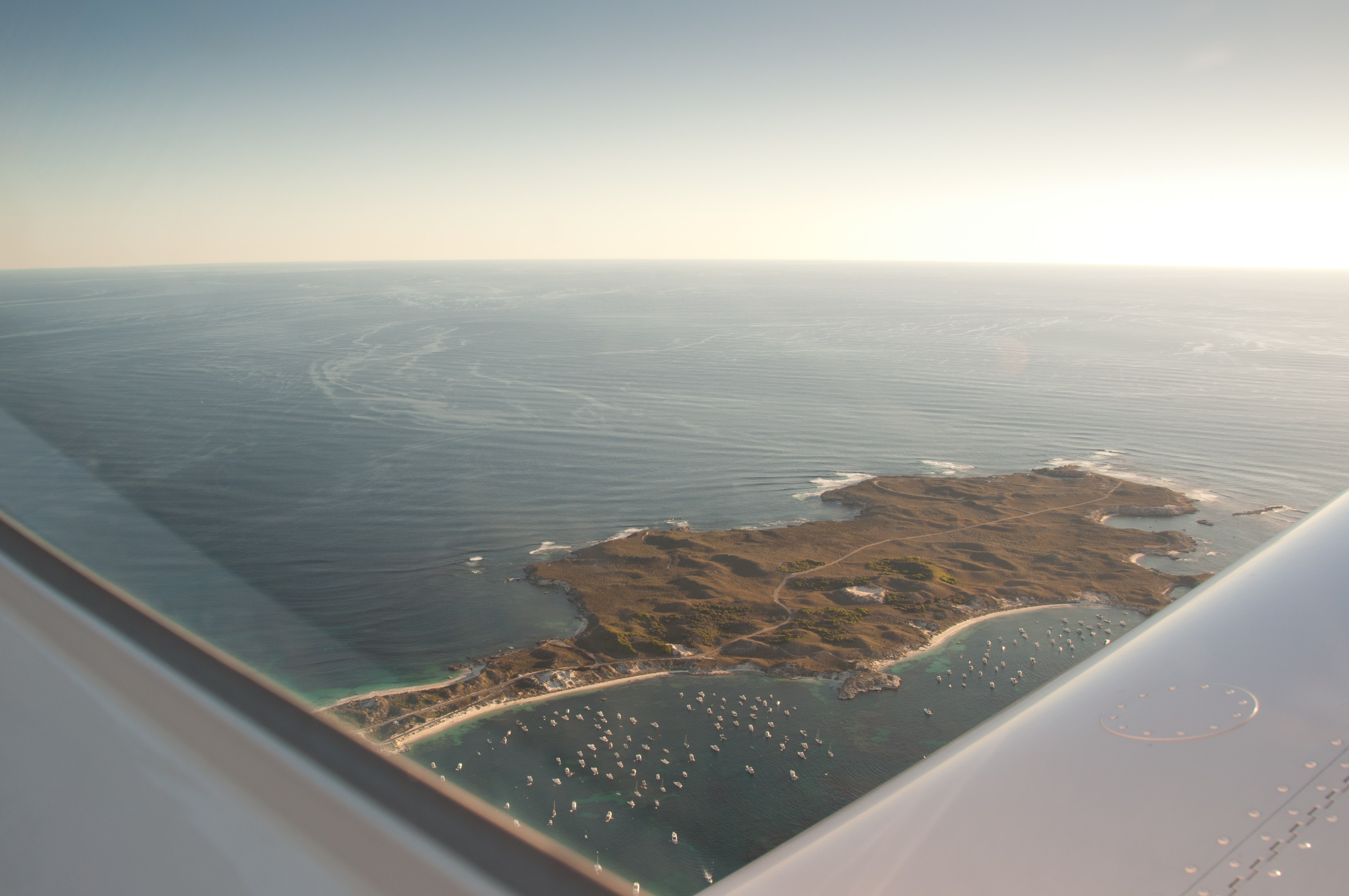 VH-EZT over rottnest island twilight