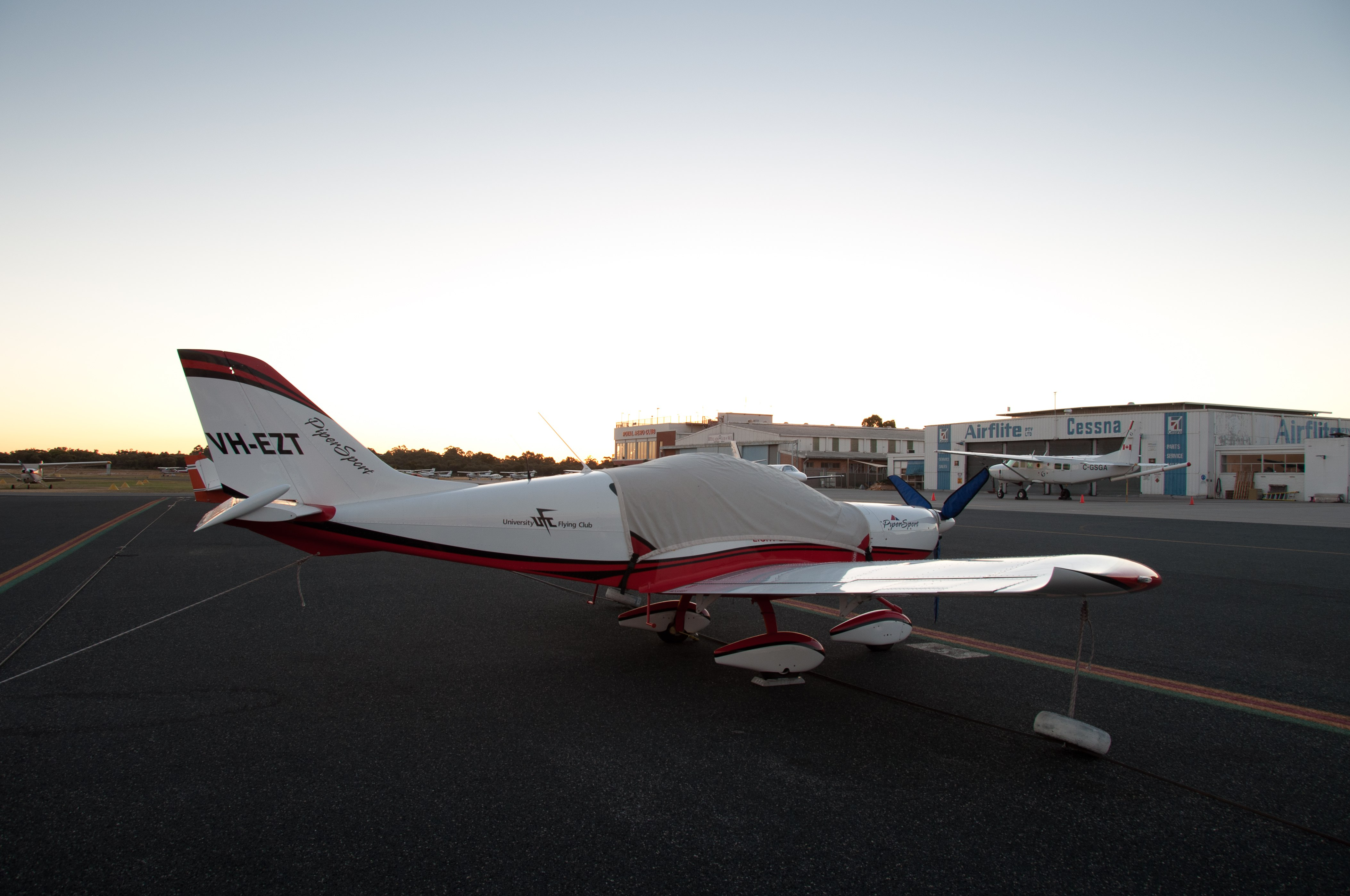 VH-EZT CSA pipersport sportscruiser parked at jandakot near air australia