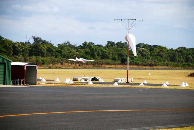 VH-EZT takeoff from Bunbury Airport windsock runway 25