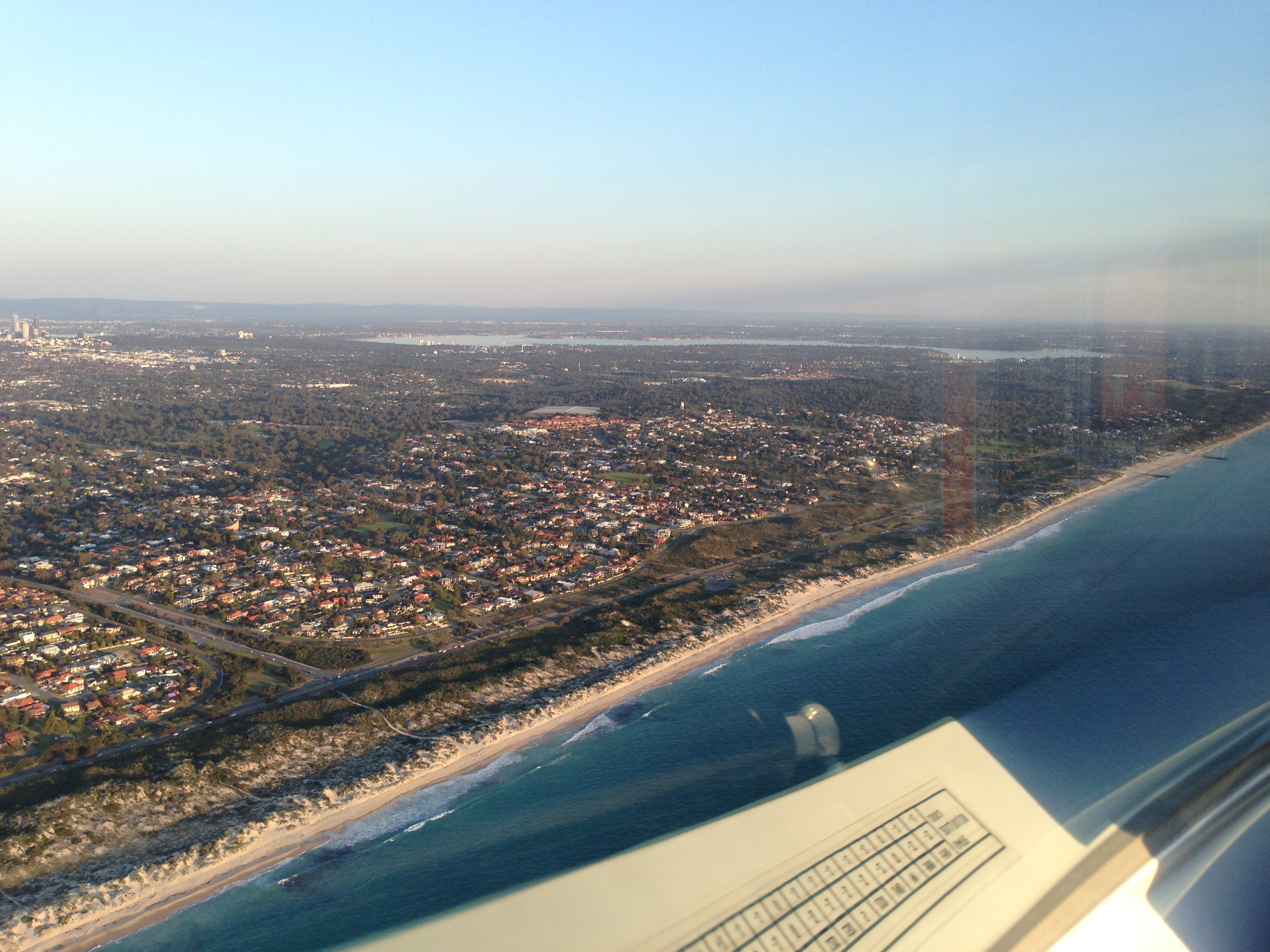 VH-EZT CSA pipersport sportscruiser perth city beaches coastline from the air