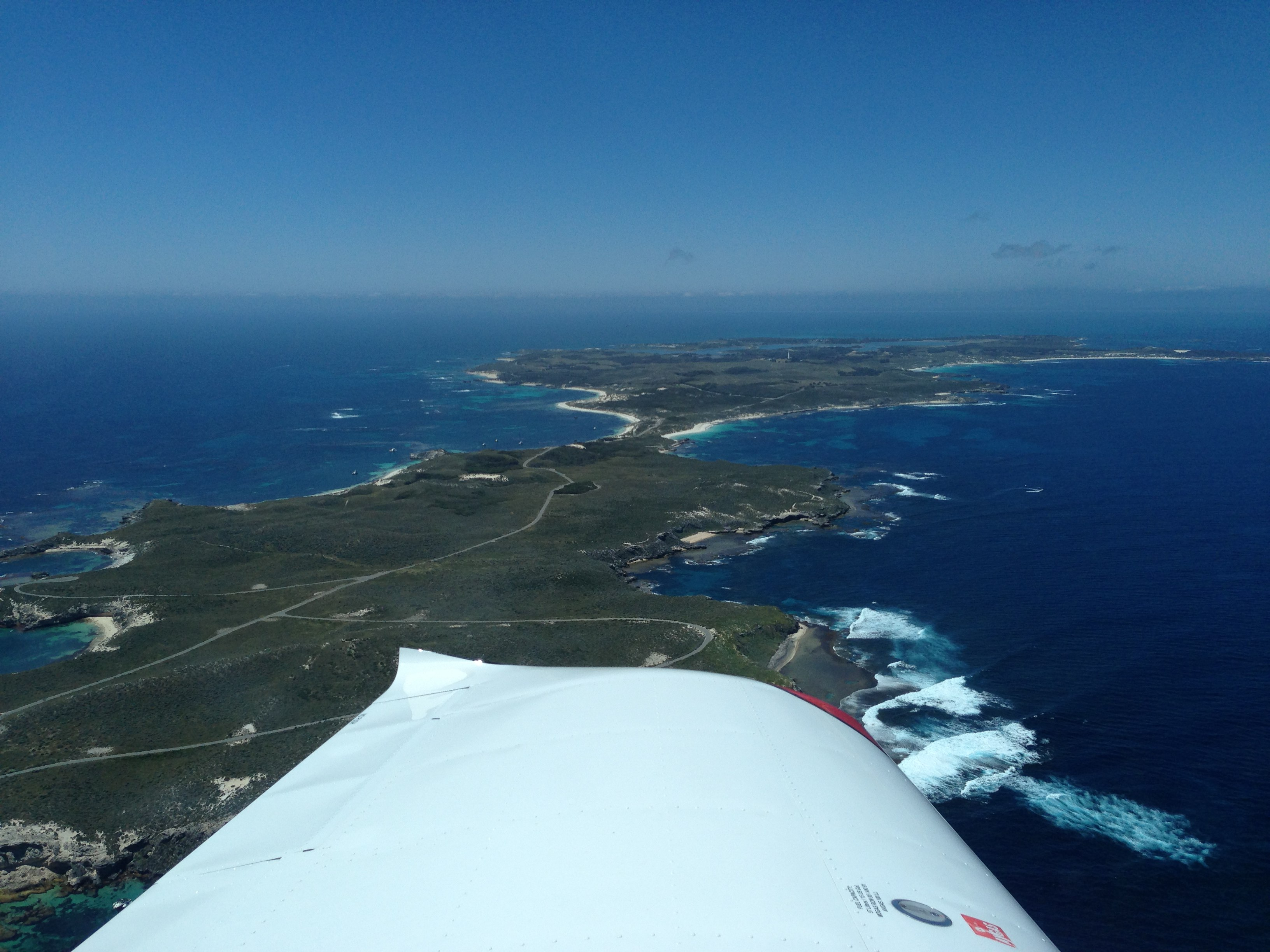 VH-EZT CSA pipersport sportscruiser flying around rottnest island ocean